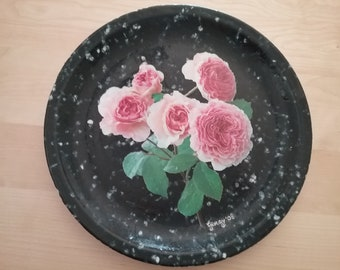 Pink Rose Ceramic Plate