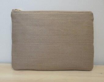 Hemp Herringbone & Organic Cotton Large Zippered Pouch