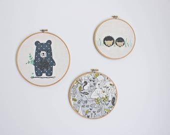 Embroidery Hoops // Set of 3 // Hand Stitched // Wall Art // Nursery Decor