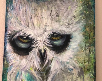 Acrylic painting owl in the night