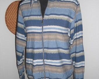 Vintage Silk Carte' Large Silk Bomber Windbreaker Jacket ~ Strips ~ Striped Hipster Indie Woman's Large L