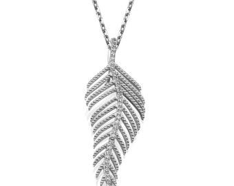 Diamond Feather White gold Necklace, 14K White Gold, Round Cut Diamonds 0.50CT F Vs2, Diamond Pendant, Diamond Link & Chain