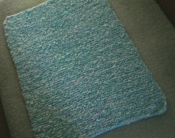 Handmade Seashore Blue Baby Blanket Made W/ Baby Clouds Yarn #9975/Super Bulky Warm Yarn/31 X 23 Inches