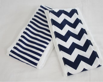 Navy Blue Chevron and Stripes Burp Cloths - Set of 2