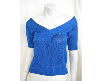 Vintage 1980s KRIZIA Sweater Off-Shoulder with Cross-Over Front