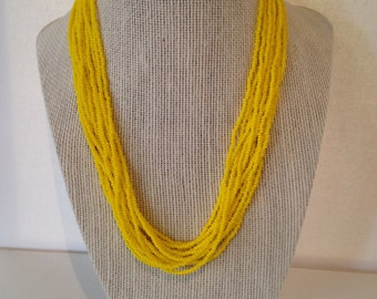 Bright yellow, seed beaded necklace, multi-strands, seed beads, layering, bead necklace