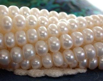 Fresh Water Pearls, 7mm Creamy White Fresh Water Pearls, Winter White Fresh Water Pearls, Button Pearls FWP-063