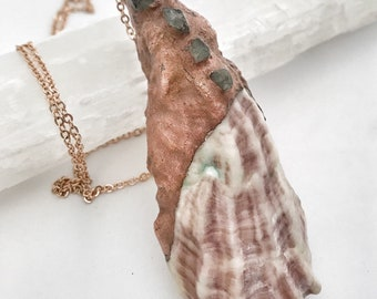 Oyster shell and aquamarine copper electroformed pendant and rose gold necklace
