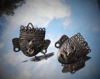 Vintage Hecho en Mexico Signed SCF 925 Silver Myan Aztec Tribal Articulated Mask Pierced Earrings