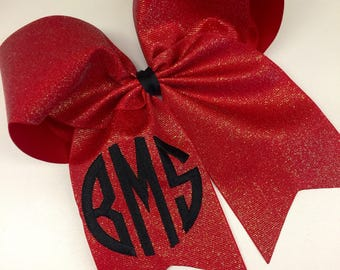 Glitter Bling, Thread Embroidered, Monogram Hair Bow, Custom Boutique, Cheer Hairbows, Competition Bows, Gift Idea, Large Texas, Red Sequins