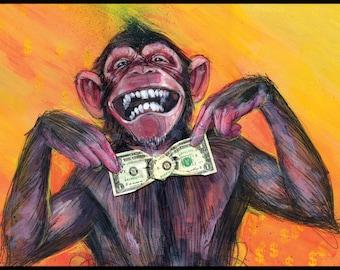 Monkey Art Print - Funny Art - Chimp Art - Gimme the Loot by Black Ink Art