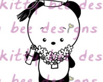 Graduation Panda Digital Stamp