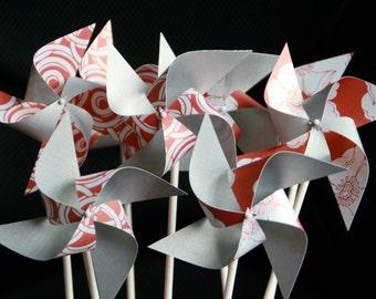 Escort Card Pinwheels Red and Silver Pinwheels 12 Mini Modern Love (Custom orders welcomed)