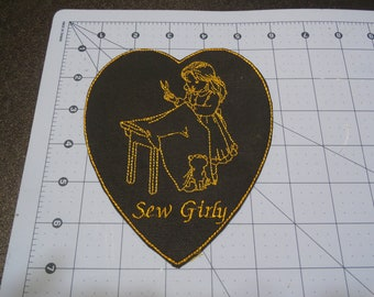 Sew Girly Patch, sew on, glue on 5x6 inches