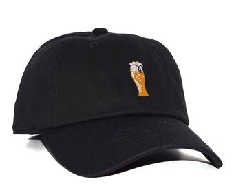 Beer Lover Craft Drink Embroidered Logo Design Premium 100%  Cotton Adjustable Baseball Dad Cap Hat - Men and Women - One Size Fits All
