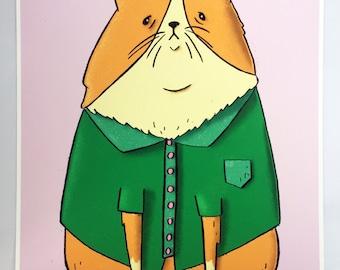 Beanie Cat Print