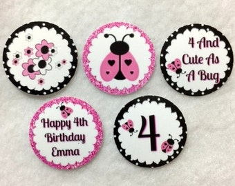 Set of 50/100/150/200 Personalized Ladybug 4th Birthday Party  1 Inch Confetti Circles