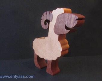 Beech wood and sapelli RAM sculpture (one choice)