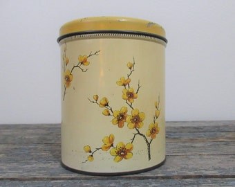 Vintage Kitchen Canister, Metal Canisters, Dogwood Flower, Yellow Kitchen, Rustic Kitchen Decor