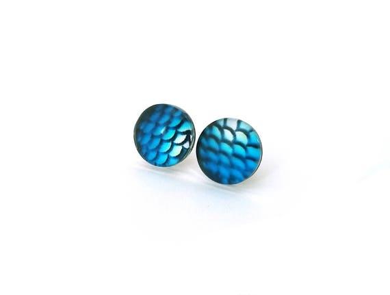 Blue mermaid stud earrings - Titanium and glass