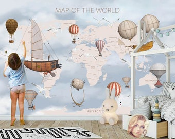 World map decal etsy 3d kid world map hot balloon removable wallpaperpeel and stick wall mural floral gumiabroncs Images