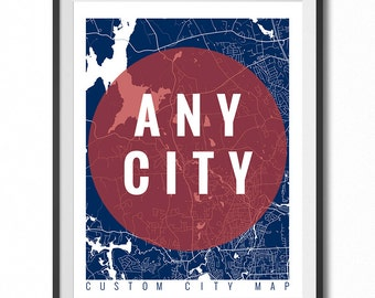 Custom map art print - Any City in the world  - Custom city Map / Print  / Poster / Wall Art / Line Art /  Choose Size and Color