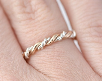 Gold and Silver Ring, Stackable Twist Ring, Stacking Ring, Twisted Ring, Braided Ring, Thumb Ring, Gift For Her