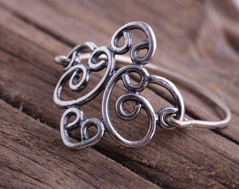 Thin filigree ring .Silver filigree ring. Jewelry for women. Sterling silver ring. Stacking ring. Stackable ring