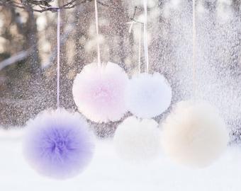 "Tulle pom poms set of 10 large 12""/37cm custom colors/ luxurious wedding party decorations / tutu / fabric poms /  tulle balls / pompoms"