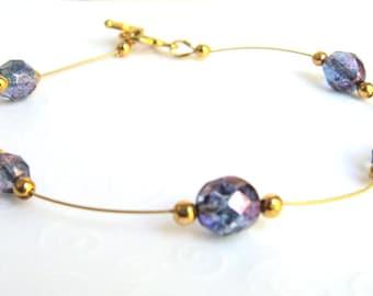 Beaded Wire Bracelet, Czech Beads Purple and Gold, Single Strand Bracelet, Minimalist Jewelry