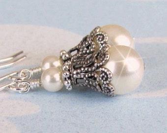 Vintage Style Pearl Earrings Antique Silver White Ivory Bridesmaid Earrings, Antique Silver Bridesmaids Jewelry, Wedding Jewelry