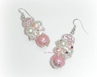 ROSIE - Earrings white and pink