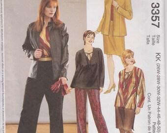 Pants Pattern Skirt Lined Jacket Top Women's Plus Size 26W - 32W  uncut McCalls 3357 Full Figure