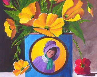 Original Acrylic Painting Signs of Summer Still life Painting Flower Painting Fine Art
