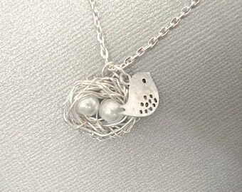 Bird Nest Necklace Pearl Bird Nest Necklace Silver Bird Pendant Mother Child Necklace Mom Necklace Mom Jewelry
