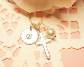 Sterling Silver Cross Necklace, Personalized Initial and Pearl, Baptism Necklace, Christian Jewelry