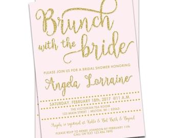 Brunch with the Bride Invitation, Gold Glitter Bridal Shower Invitation, Printable Bridal Shower Invitation Gold, Bridal Brunch Invitation