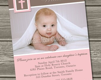 Christening Invitation (Digital File) Baptism Invitation - I Design, You Print