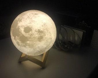 Moon Lamp, Moon Light, Night Light, 3D Printed Lamp,