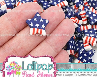Star Shape Beads Patriotic Beads Flag Fourth of July Beads Fimo Beads Red White and Blue Polymer Clay Beads Chunky Beads Jewelry Making 10