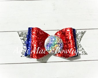 4th of July #Party   Glitter Canvas Bow
