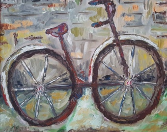 The bike . Europe. Oil painting