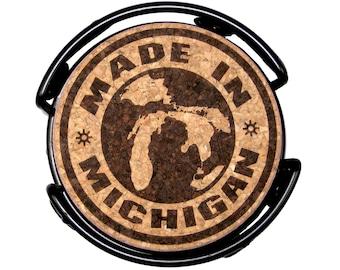 Made in Michigan Etched Cork Coaster Set