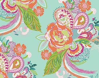 Cotton Jersey Knit - Nib and Pluck Ursinia Fabric - Fuchsiad Finch - Sold by the 1/2 Yard