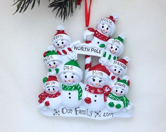 9 Family Personalized Christmas ornament / 9 Snowmen / Snowman Family Ornament / Big Family Christmas Ornament