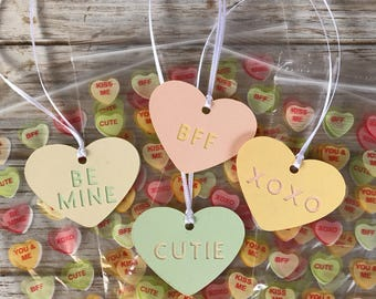 Candy heart treat bags with matching tags, Valentine's Day treat bags, 12 count