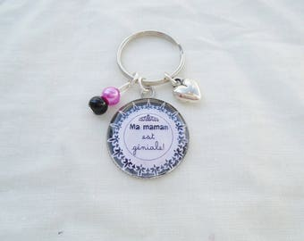 Keychain cabochon my mom is great
