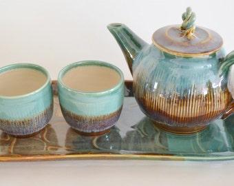 Handmade Ceramic Tea Set with Tray, Brown Green Tea Pot with Tea Cups, Holiday Gift Tea Set, 4 Piece Pottery Tea Set, Made to Order