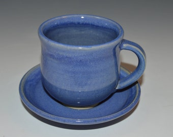 Espresso cup with plate, blue espresso cup, 5 available and ready to ship