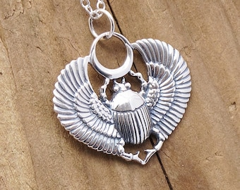 Sterling Silver Egyptian Scarab Egyptian Beetle Necklace